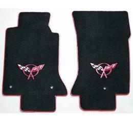 Lloyd Mats, Floor Mats, Black With Red Logo & Binding| 1532746100 Corvette 1997-2004