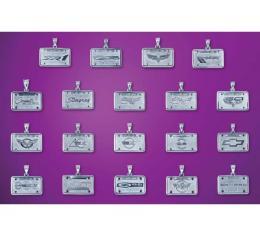 Corvette Silver License Plate Pendant, 1953-2013 Designs