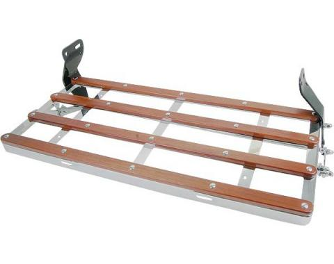 Model A Ford Luggage Rack - Chrome Plated With Wood Strips - Platform Size 13-1/2 X 35
