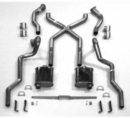 """Chevy SCR """"X"""" Turbo Performance Dual 2-1/2"""" Exhaust System,With Corner Exit Tailpipes, For Use With 3/4 Length Shorty Headers, Small Block Stainless Steel, 1955-1957"""