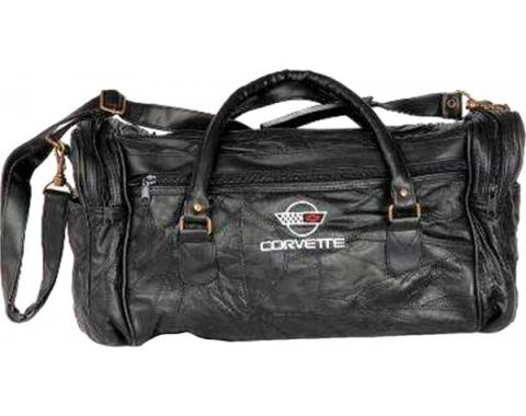 Corvette Leather Road Trip Bag With C4 Embroidered Emblem