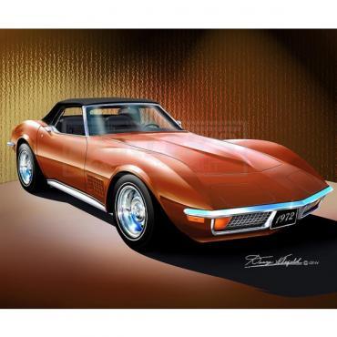Corvette Fine Art Print By Danny Whitfield, 20x24, StingrayConvertible, Ontario Orange, 1972