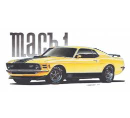 Limited Edition Print, Mustang, Mach 1, Yellow, 1970