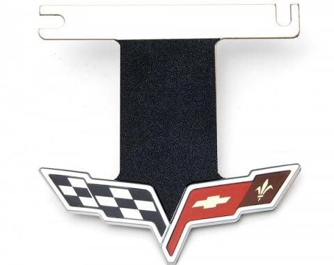 Corvette Exhaust Enhancer Plate, Stainless Steel, For Cars With NPP Exhaust, With C6 Logo, 2008-2013