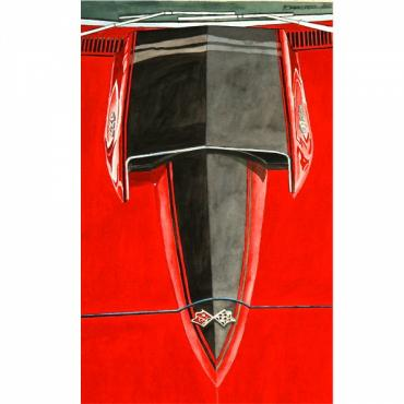 Corvette The Red Stinger, Fine Art Print By Dana Forrester, 11x17