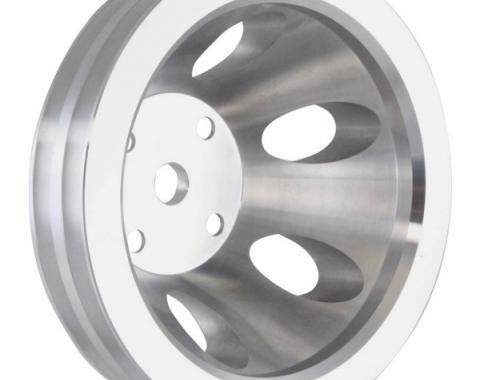 Chevy Small Block Aluminum Water Pump Pulley, Long Water Pump, 2 Groove