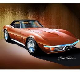 Corvette Fine Art Print By Danny Whitfield, 14x18, StingrayConvertible, Ontario Orange, 1972