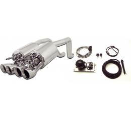 Corvette Exhaust System, With Quad Round Tips & Control Kit, Fusion, B&B, 2005-2008