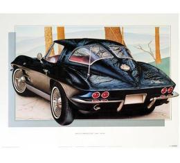1963 Corvette Coupe Tuxedo-Black Print By Hugo Prado