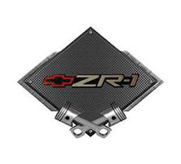 "Corvette ZR1 Emblem Metal Sign, Black Carbon Fiber, CrossedPistons, 25"" X 19"""