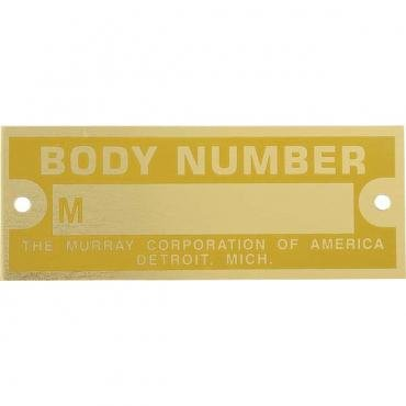 Model A Ford Body Number Plate - Murray - Brass