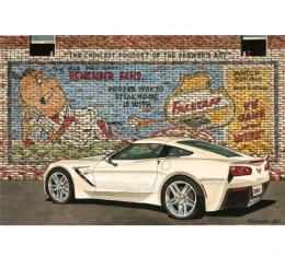 Corvette White Falstaff, Fine Art Print By Dana Forrester, 11x17