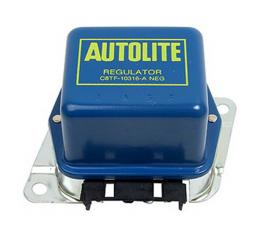 Alternator Voltage Regulator Cover - Blue With Yellow Ink -With A/C - 45, 55, 61 & 65 Amp Alternator - Ford & Mercury