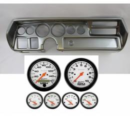 Chevelle Instrument Cluster Panel, Super Sport (SS) Style, Aluminum Finish, With Phantom Gauges, 1970-1972