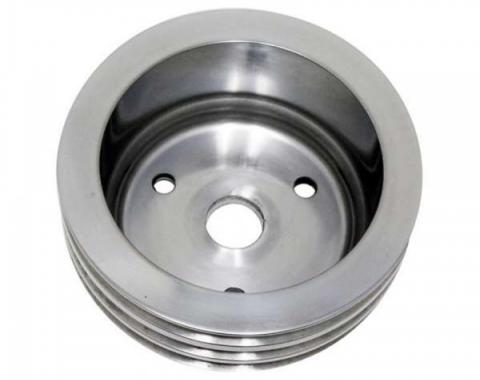 Chevy Small Block Aluminum Crankshaft Pulley, Small Water Pump, 3 Groove