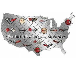 "Corvette USA Shaped Sign With Corvette Logos, 24"" X 14"""
