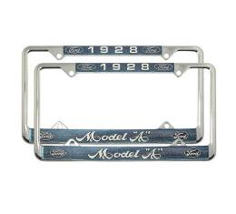 Model A Ford License Plate Frames - White Lettering With Blue Background - Model A Ford 1928