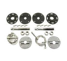 Hood Pin Kit, Billet, For Custom Look, Fairlane
