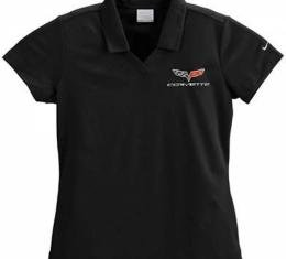 Corvette Polo Shirt, Women's, Nike Dri-Fit, Micro Pique, Black