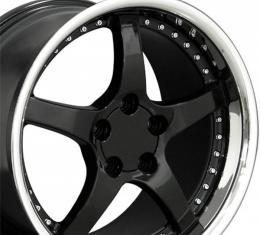Corvette 18 X 10.5 C5 Style Deep Dish Reproduction Wheel, Black With Rivets, 1988-2004