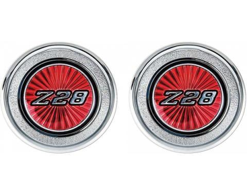 Camaro Interior Door Panel Emblems, Red, Z28, 1977-1979