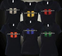 Camaro T-Shirt, Ladies, Jeweled Camaro With Stripes, Orange