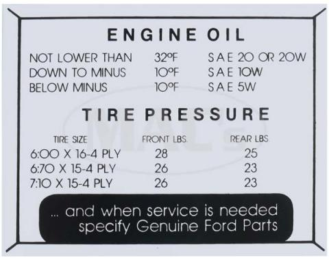Tire Pressure Decal - Ford