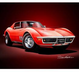 Corvette Fine Art Print By Danny Whitfield, 14x18, 427 Stingray Coupe, Monza Red, 1969