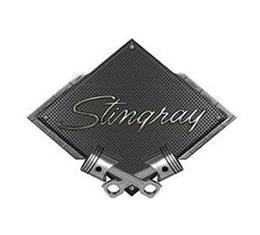 "Corvette 1969-1973 Stingray Emblem Metal Sign, Black CarbonFiber, Crossed Pistons, 25"" X 19"""