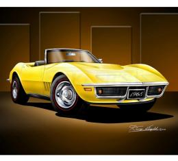 Corvette Fine Art Print By Danny Whitfield, 20x24, StingrayRoadster, Daytona Yellow, 1968