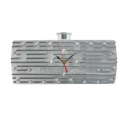 Flathead Forever Clock - Cylinder Head Replica - 13 Long X 6-3/8 Tall X 3 Deep - Finned Polished Aluminum - Battery Powered