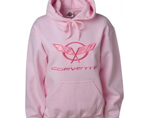 Corvette C5 Sweatshirt, Ladies, Tonal Hooded, Pink | Small