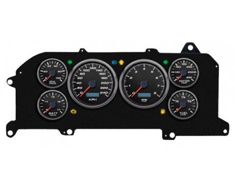 Mustang - New Vintage USA Performance ll Series Kit - 6 Gauge Package, Black Dial - 1987-1993 -  Programmable Speedometer KPH
