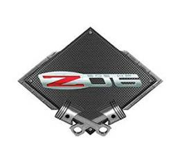 "Corvette Z06 505 HP Emblem Metal Sign, Black Carbon Fiber, Crossed Pistons, 25"" X 19"""