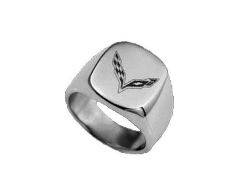 Corvette C7 Polished Stainless Signet Ring