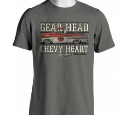 Laid Back Gearhead Chevy Heart 1955 Truck T-Shirt, Grey