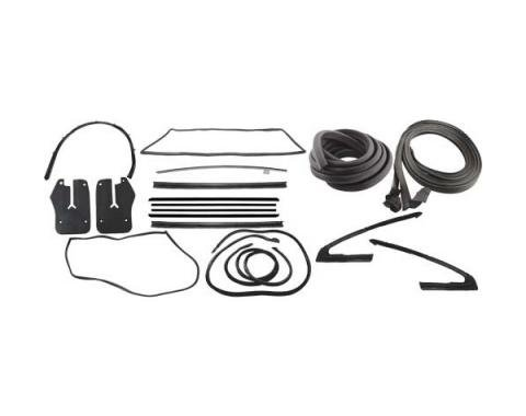 Ford Mustang Weatherstrip Kit - Fastback - 11 Seals With Stainless Steel Bead Belt Weatherstrip - From 9-7-64