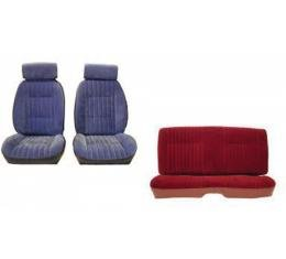 Malibu Front European Reclining Buckets With Headrest and Rear Bench Seat Set In Madrid Grain Vinyl And Velour Inserts,1982
