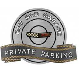 "Corvette C4 1991-1996 Emblem Hot Rod Garage Private ParkingMetal Sign, 18"" X 14"""