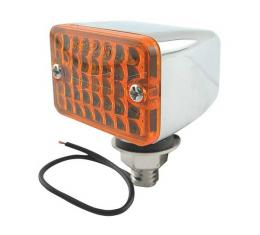 Utility Light - Single Element - 12 Volt - Chrome With Amber Lens - 1-3/4 Wide X 1-1/2 High X 1-5/8 Long