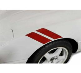 Corvette Fender Accent Stripes, Red With 35th Anniversary Emblem, 1984-1996