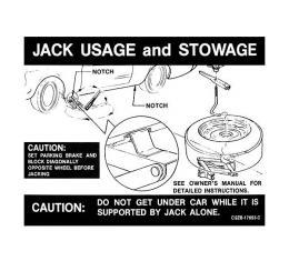 Ford Mustang Decal - Jack Instruction - Regular Wheels