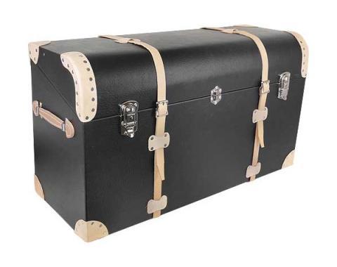 Model A Ford Trunk - Black Vinyl - Russet Leather Trim & Straps - Tapered Back
