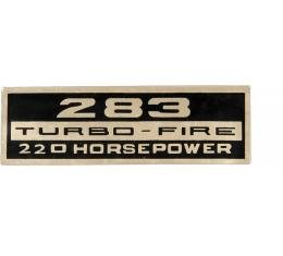 Full Size Chevy Valve Cover Decal, Turbo-Fire, 283ci/220hp, 1964-1966