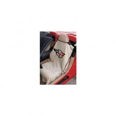 Corvette Seat Armour™ Towels, Tan, With C5 Logo, 1997-2004