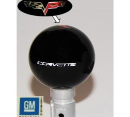 Corvette Shift Knob,Black,6 Speed,Emblem & White Script,2005-2013