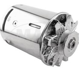 PowerGen - 6 Volt Positive Ground - 5/8 Pulley - Polished Aluminum Body & End Plate - Chrome Fan & Pulley - Ford & Mercury Flathead V8