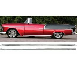 Chevy Rocker Panel Moldings, Custom, With Clips, 1955