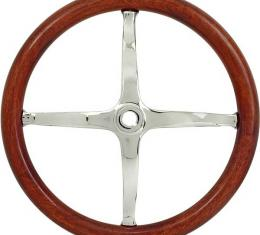 Model T Ford Steering Wheel - 12-1/2 OD & 9-7/8 ID - For Speedsters - Chrome Reproduction With Mahogany Rim