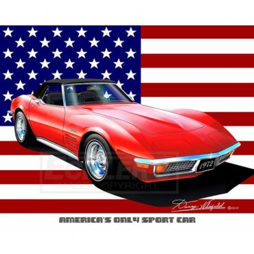 Corvette Fine Art Print By Danny Whitfield, 14x18, StingrayCoupe, All American, 1972